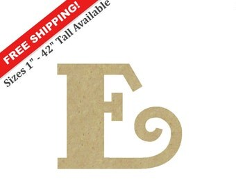 """Unpainted Wooden Letter """"E"""" – Unpainted, Decorative Font -- Perfect for Crafts, DIY, Nursery, Kids Rooms, Weddings – Sizes 1"""" to 42"""""""