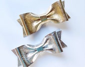 Leather Bow Set - Metallic Gold Leather Bow and Silver Leather Bow on Elastics or Alligator Clips - Small Bow Size