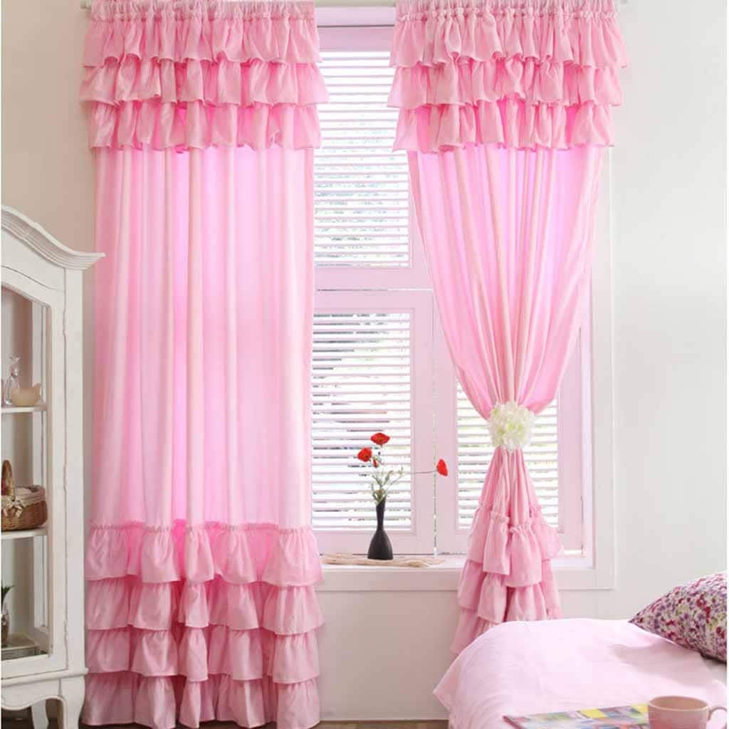 Tiered ruffled waterfall curtain panel set by lovelydecor on etsy