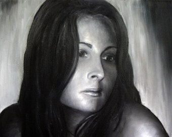 I Miss You Print of Original Oil Painting by Lindsey - Black and White - Self Portrait