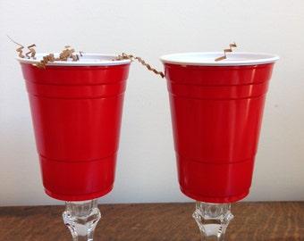 Redneck Stemware - Set of 2 Red Solo Cup Wine Glasses!