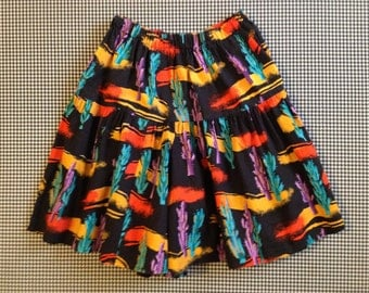 1980's, skirt-shorts, in trippy colored, cactus print, Women size Medium