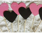 Pink and Black Heart Birthday or Valentines Day Cupcake Toppers Food Party Picks (12)