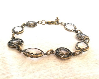 Antiqued Brass and Crystal Bracelet, Estate Style Jewelry, Downton Abbey Jewelry, Victorian Jewelry