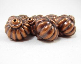 10pcs 27mm Copper Color Large Puff Ridged Beads (F1)