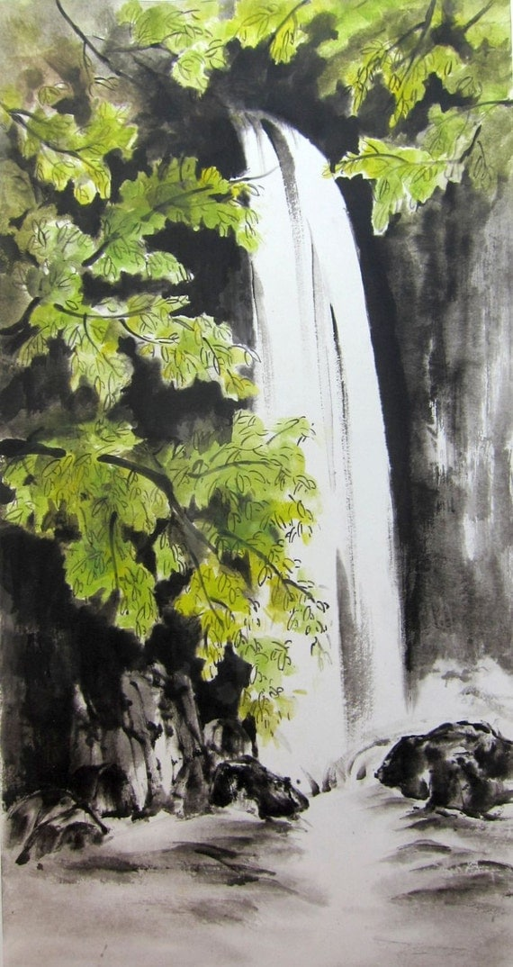 Waterfall Original Japanese Ink Painting Rice Paper By