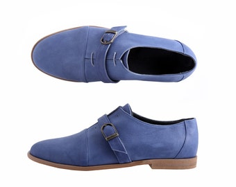 Men's shoes Blue Leather unique Oxford monk shoe with buckle ADIKILAV