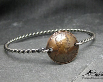 Lucky Penny Bracelet, Silver-filled wire, Made-to-Order