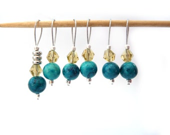 Sock Stitch Markers - No Snag Set of 6 Teal and Yellow