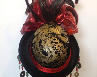 "Burlesque Mini Top Hat ""La Chinois"" - Cosplay, Firefly, Lolita, Fascinator, Headpiece"