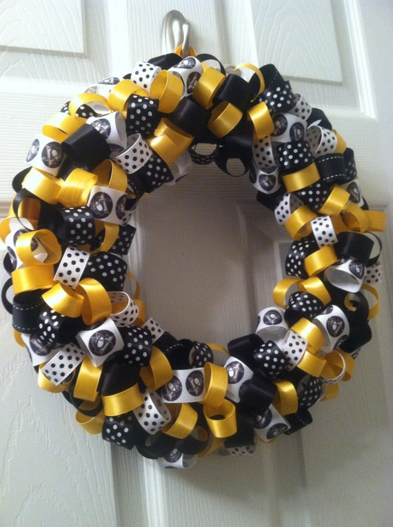 Pittsburgh Penguins Ribbon Wreath Hockey By