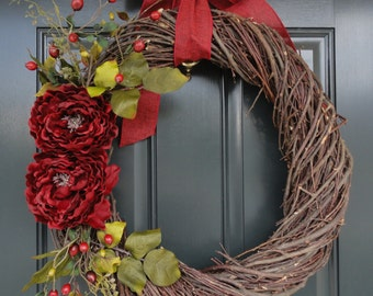 Rattan Christmas Wreath--Christmas Wreath--Grapevine Wreath--Holiday Wreath--Rattan Wreath