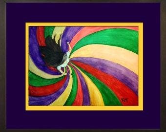 Watercolor Latina or Mexican Dancer, colorful dancer twirling skirt Hermosa Bailarina Framed Original Painting by Janet Bray