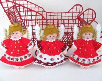 Vintage Christmas Angel Ornaments, Bucilla Felt Angel Ornaments, Felt Angels, Handmade Ornaments, Christmas Decor