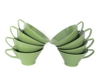 Vintage Melmac Cups, 1960's Avocado Green Cups, Melmac Cups, Coffee Mugs, Mid Century Kitchen