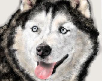 Custom Dog Pet Portrait, pet portrait, custom portrait, dog art, dog lover, dog memorial, pet memorial, artwork, husky, dog, pet, art print