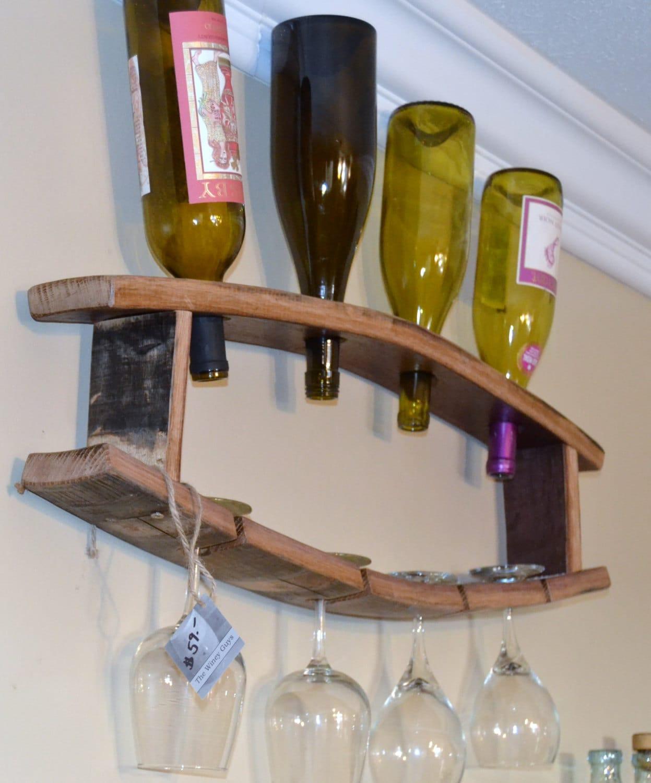Wine Bottle Glass Barrel Stave Display