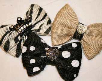 "Burlap 2"" or 1 1/2"" Small Dog Bow"