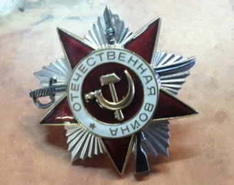 Soviet Vintage Order of Patriotic War of 1940s.