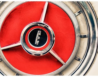 Car Parts Photography, Clasic Edsel Wheel, Metallic Photographic Print