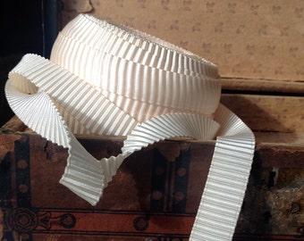 two yards of pleated satin ivory cream trim ribbon