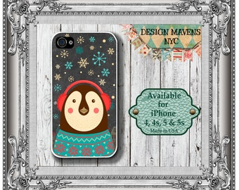 Holiday Penguin iPhone Case, Christmas Penguin iPhone Case, iPhone 4, 4s, iPhone 5, 5s, 5c, iPhone 6, 6s, 6 Plus, Phone Cover, Phone Case
