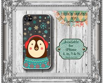 Penguin iPhone Case, Christmas iPhone Case, Chalkboard Case, iPhone 4, 4s, iPhone 5, 5s, 5c, iPhone 6, 6s, 6 Plus, SE, iPhone 7, 7 Plus
