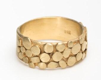 Alternative wedding band, alternative wedding ring, 14k gold wedding band, 14k gold wedding ring, modern wedding ring,wide wedding band ring