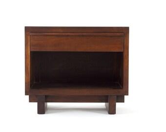 Barnese End Table - Solid Reclaimed Teak Wood - Mid Century Modern Nightstand Storage