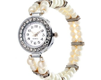 Pearl Watch Bracelet Watch Bridal Jewelry Beaded Watch Ivory Pearls