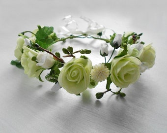 Flower Girl Hair Wreath / Headpiece of White and Lime Green Blooms / Handmade Wedding Floral Accessory