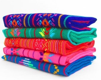 Aztec fabric, Mexican Fabric Bundle, tribal fabric by the yard,colorful tribal fabric by the yard. latin american, houseware, embroidered.