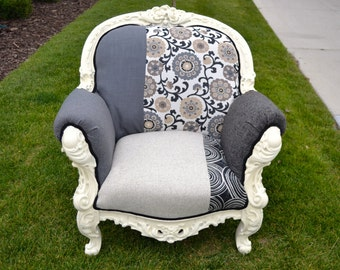 Vintage Upholstered Fauteuil Chair with Intricate Details