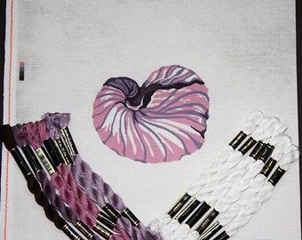 Needlepoint Kits, Needlepoint Designs, Needlepoint Shells, SeaShell Needlework, Needlepoint Canvases, Pink Nautilus Shell Needlepoint Kit