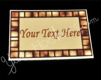 Beige Tiles - White Cotton Custom Printed Labels / Sew in Clothing labels / Personalized Fabric Labels - For Crochet, Knit, Sewing