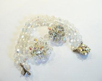 Beautiful Vintage Crystal & AB Rhinestone Bracelet and Clip Cluster Earrings