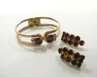 Beautiful Vintage Amethyst Purple Rhinestone Bracelet and Clip Earrings