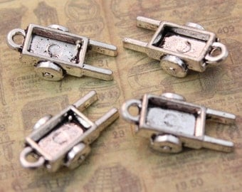 10 Wheelbarrow Charms Gardening Tools Pendants Antiqued Silver  Double Sided 3D 7x 18 mm