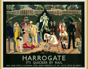 Art Print England Harrogate LNE Rail Poster Print 1920s 8 x 10