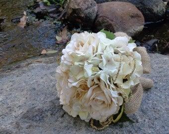 Bridal bouquet in cream hydrangea and roses