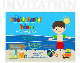 Beach Invitations, BOY Birthday Party Invitations, personalized thank you cards, birthday invitations, party invitations / No.48