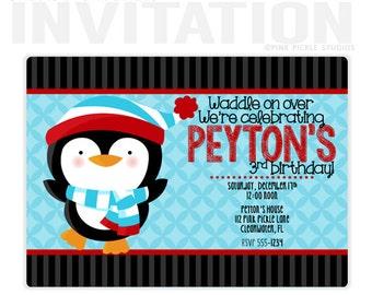 Penguin  Boy Birthday Party Invitations, personalized thank you cards, birthday invitations, party invitations / No.112