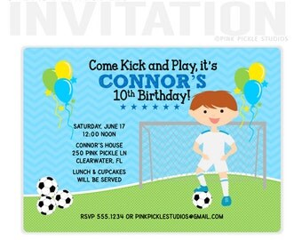 Soccer Boy Birthday Party Invitations, personalized thank you cards, birthday invitations, party invitations / No.250