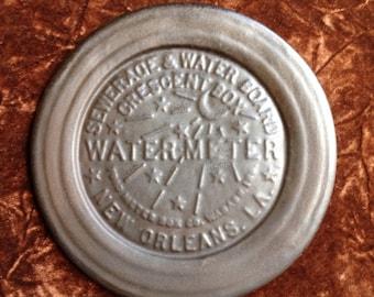New Orleans Water Meter handmade slate Pottery Souvenir Plate