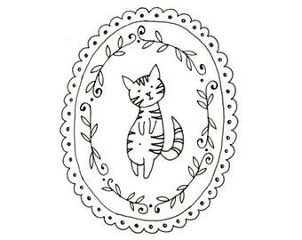 Cat Embroidery Pattern Kitty Digital Downloadable 0006
