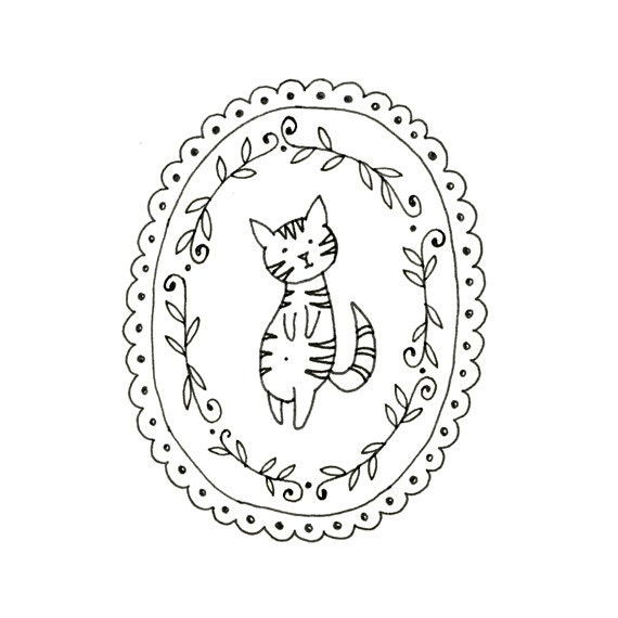 Items Similar To Cat Embroidery Pattern Kitty Digital Downloadable 0006 On Etsy