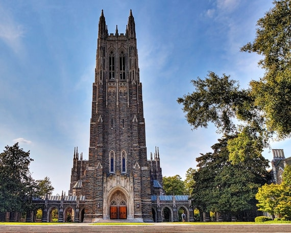 "Duke University Chapel ""Fall at the Chapel"" 8x10 11x14 16x20 Fine Art Print Church Durham NC Graduation Gift Photography Gothic Cathedral"