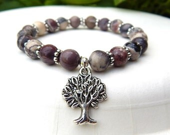 Tree of Life Bracelet, Rose Bracelet, Yoga Bracelet, Gemstone Bracelet, Boho Bracelet, Bohemian Bracelet, Nature Girl,  Natural Jewelry