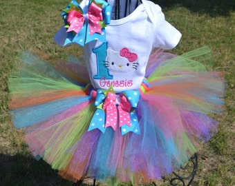 Colorful Kitty Tutu Set.  Set is customized any way you want.  Personalization is included in your order.  Sizes 3m-6 yr.