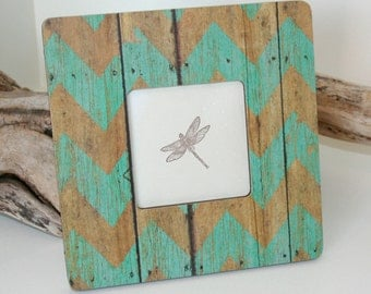Chevron Decor, Coastal decor, Turquoise chevron decor, Rustic Picture frame, Photo frame, Decoupaged frame